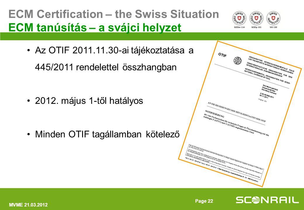 MVME 21.03.2012 Page 23 ECM Certification – the Swiss Situation ECM tanúsítás – a svájci helyzet