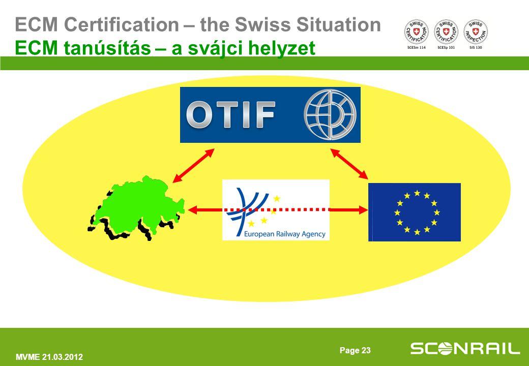 MVME 21.03.2012 Page 24 1.egy svájci akkreditált tanúsító szerv Az összes OTIF országban adhat ki ECM tanúsítványokat 2.bármely svájci akkreditált tanúsító szerv által kiadott ECM engedély minden OTIF országban érvényes Annak ellenére, hogy Svájc nem EU tag Conclusions – The Swiss situation Következtetések – a svájci helyzet