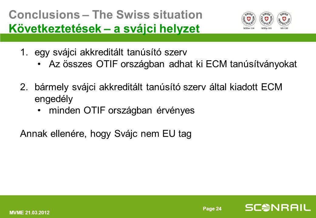 MVME 21.03.2012 Page 25 Conclusions – The Swiss situation Következtetések – a svájci helyzet 1.egy svájci akkreditált tanúsító szerv Az összes OTIF országban adhat ki ECM tanúsítványokat 2.bármely svájci akkreditált tanúsító szerv által kiadott ECM engedély minden OTIF országban érvényes Annak ellenére, hogy Svájc nem EU tag