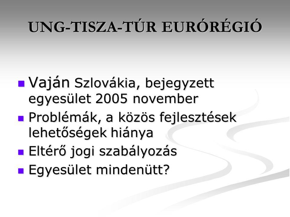UNG-TISZA-TÚR EURÓRÉGIÓ Vaján Szlovákia, bejegyzett egyesület 2005 november Vaján Szlovákia, bejegyzett egyesület 2005 november Problémák, a közös fejlesztések lehetőségek hiánya Problémák, a közös fejlesztések lehetőségek hiánya Eltérő jogi szabályozás Eltérő jogi szabályozás Egyesület mindenütt.