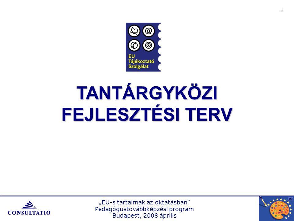 """""""EU-s tartalmak az oktatásban Pedagógustovábbképzési program Budapest, 2008 április TANTERVI TÉRKÉP A tananyag problematikájaA tananyag problematikája Tér és időTér és idő Miért térkép?Miért térkép."""