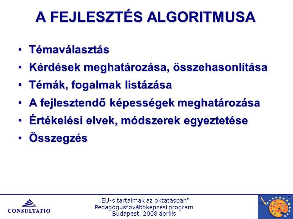 """""""EU-s tartalmak az oktatásban Pedagógustovábbképzési program Budapest, 2008 április A FELADAT KérdéshálóKérdésháló TémahálóTémaháló Tantárgyi hálóTantárgyi háló TevékenységhálóTevékenységháló KövetelményhálóKövetelményháló Fogalmi hálóFogalmi háló KépességhálóKépességháló"""