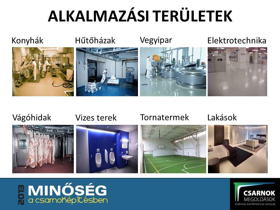 ALKALMAZÁSI TERÜLETEK Konyhák Hűtőházak Vegyipar Elektrotechnika Vágóhidak Vizes terek Tornatermek Lakások