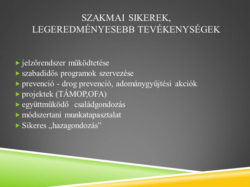 """SZAKMAI SIKEREK, LEGEREDMÉNYESEBB TEVÉKENYSÉGEK  jelzőrendszer működtetése  szabadidős programok szervezése  prevenció - drog prevenció, adománygyűjtési akciók  projektek (TÁMOP,OFA)  együttműködő családgondozás  módszertani munkatapasztalat  Sikeres """"hazagondozás"""