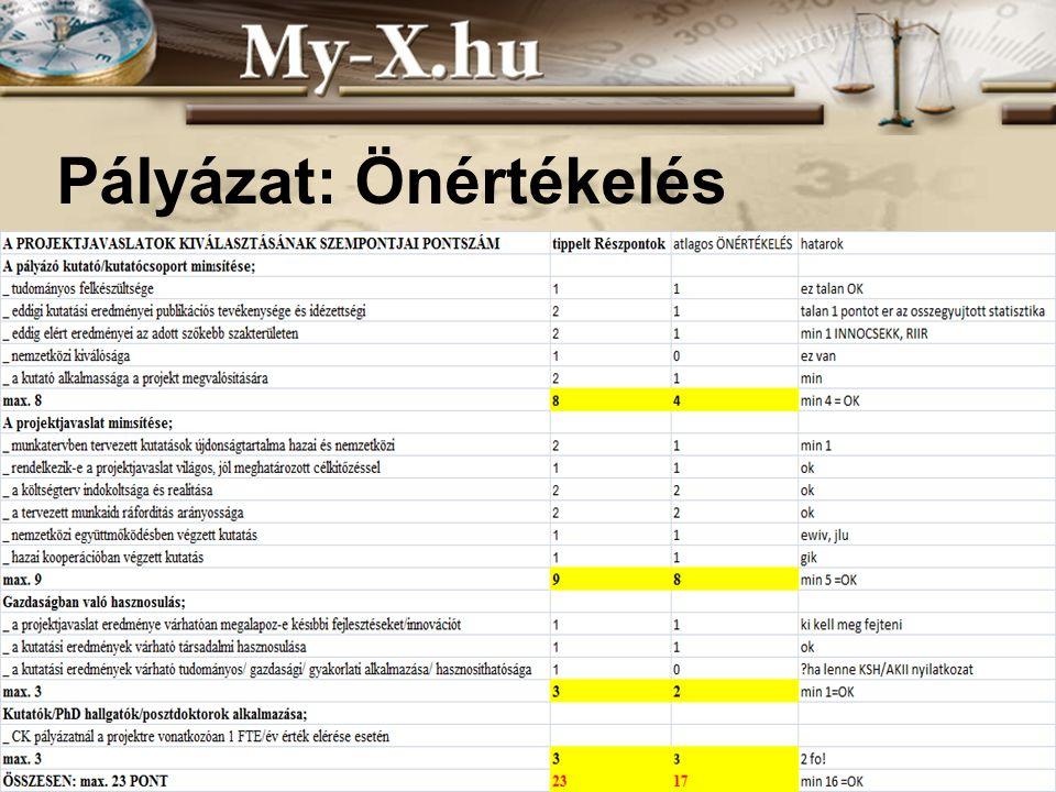 INNOCSEKK 156/2006 Pályázat: Önértékelés
