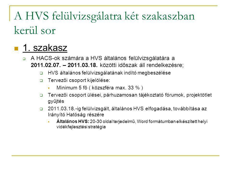 A HVS felülvizsgálatra két szakaszban kerül sor 1.