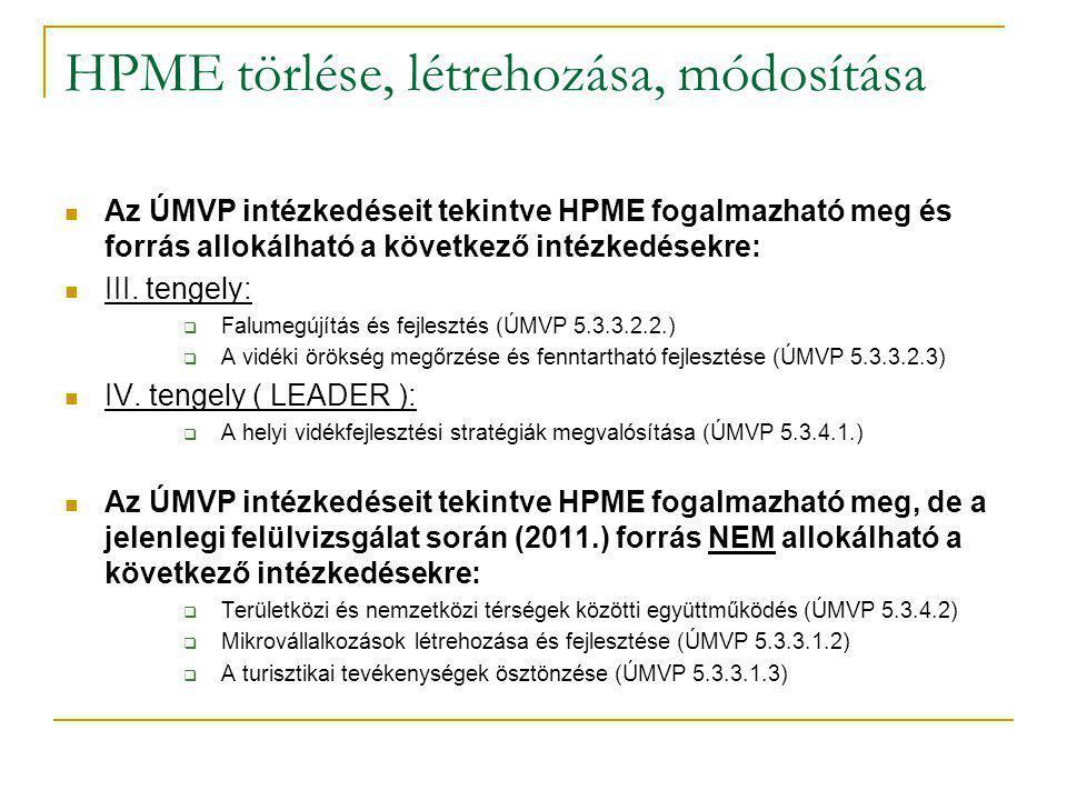 HPME törlése, létrehozása, módosítása Az ÚMVP intézkedéseit tekintve HPME fogalmazható meg és forrás allokálható a következő intézkedésekre: III.