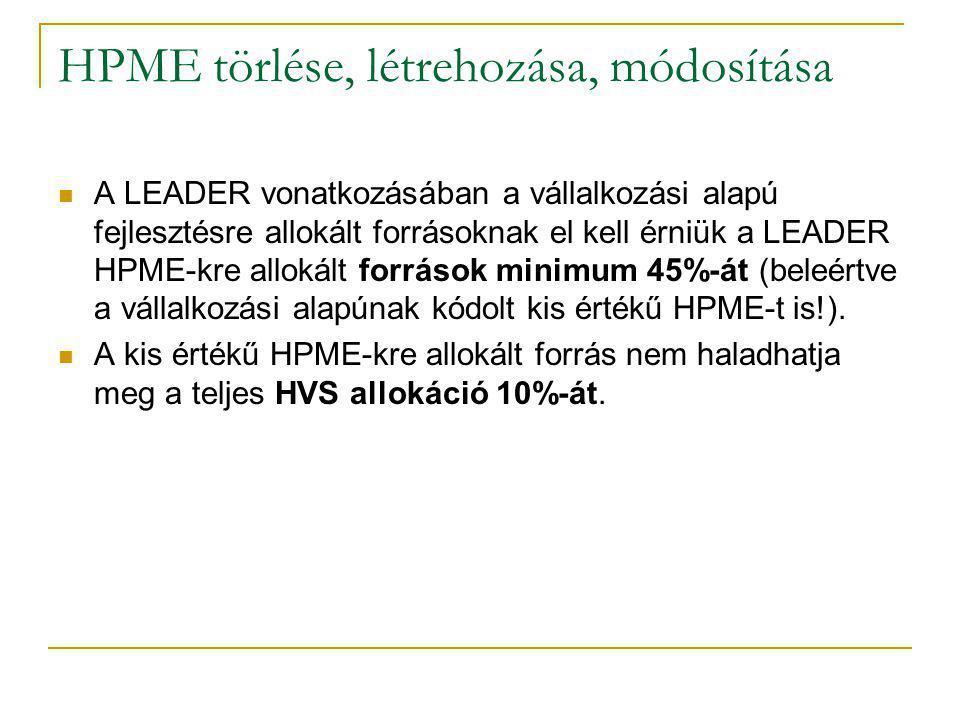 HPME törlése, létrehozása, módosítása A LEADER vonatkozásában a vállalkozási alapú fejlesztésre allokált forrásoknak el kell érniük a LEADER HPME-kre allokált források minimum 45%-át (beleértve a vállalkozási alapúnak kódolt kis értékű HPME-t is!).
