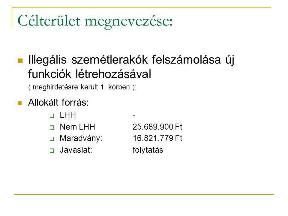 Célterület megnevezése: Illegális szemétlerakók felszámolása új funkciók létrehozásával ( meghirdetésre került 1.