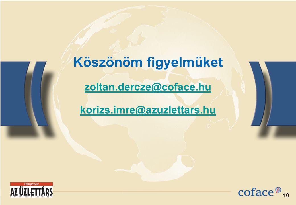 10 Köszönöm figyelmüket zoltan.dercze@coface.hu korizs.imre@azuzlettars.hu zoltan.dercze@coface.hu korizs.imre@azuzlettars.hu
