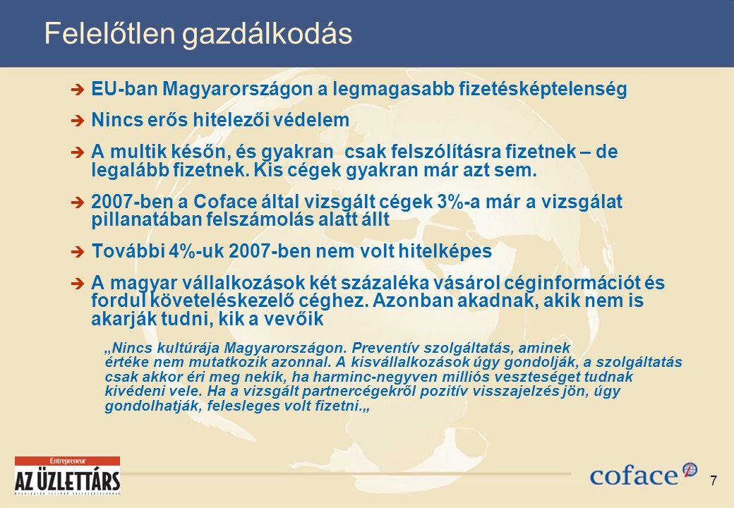 7 Felelőtlen gazdálkodás  EU-ban Magyarországon a legmagasabb fizetésképtelenség  Nincs erős hitelezői védelem  A multik későn, és gyakran csak felszólításra fizetnek – de legalább fizetnek.
