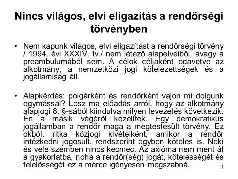 11 Nincs világos, elvi eligazítás a rendőrségi törvényben Nem kapunk világos, elvi eligazítást a rendőrségi törvény / 1994. évi XXXIV. tv./ nem létező