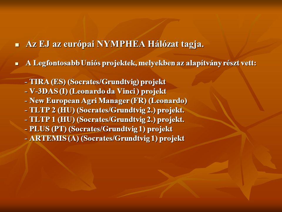 Az EJ az európai NYMPHEA Hálózat tagja.Az EJ az európai NYMPHEA Hálózat tagja.