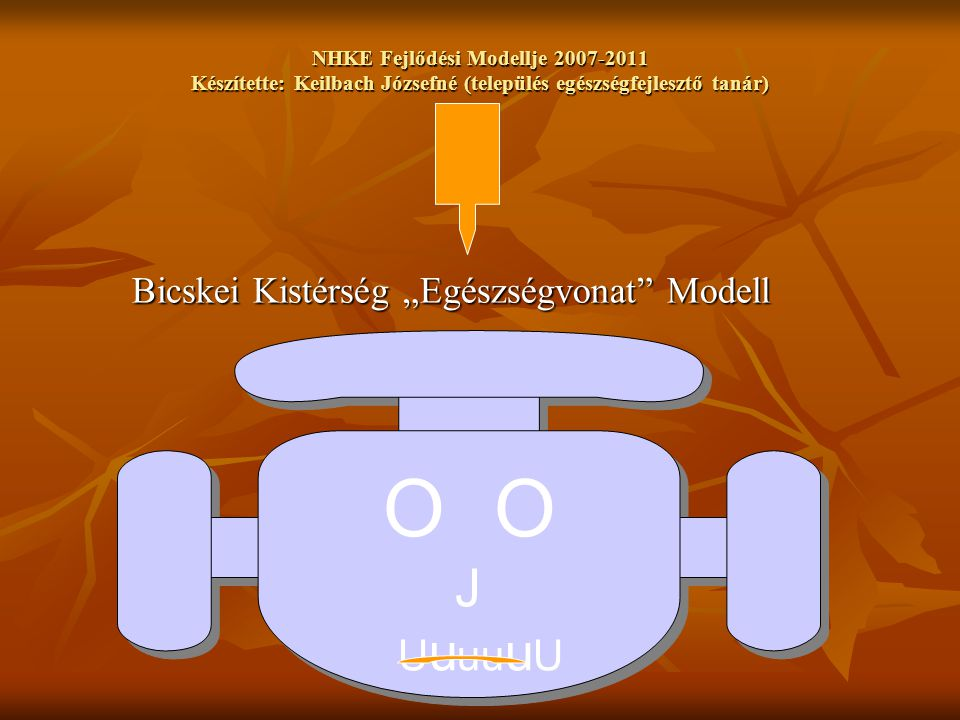 """NHKE Fejlődési Modellje 2007-2011 Készítette: Keilbach Józsefné (település egészségfejlesztő tanár) Bicskei Kistérség """"Egészségvonat Modell O J U u uu u U O J U u uu u U"""