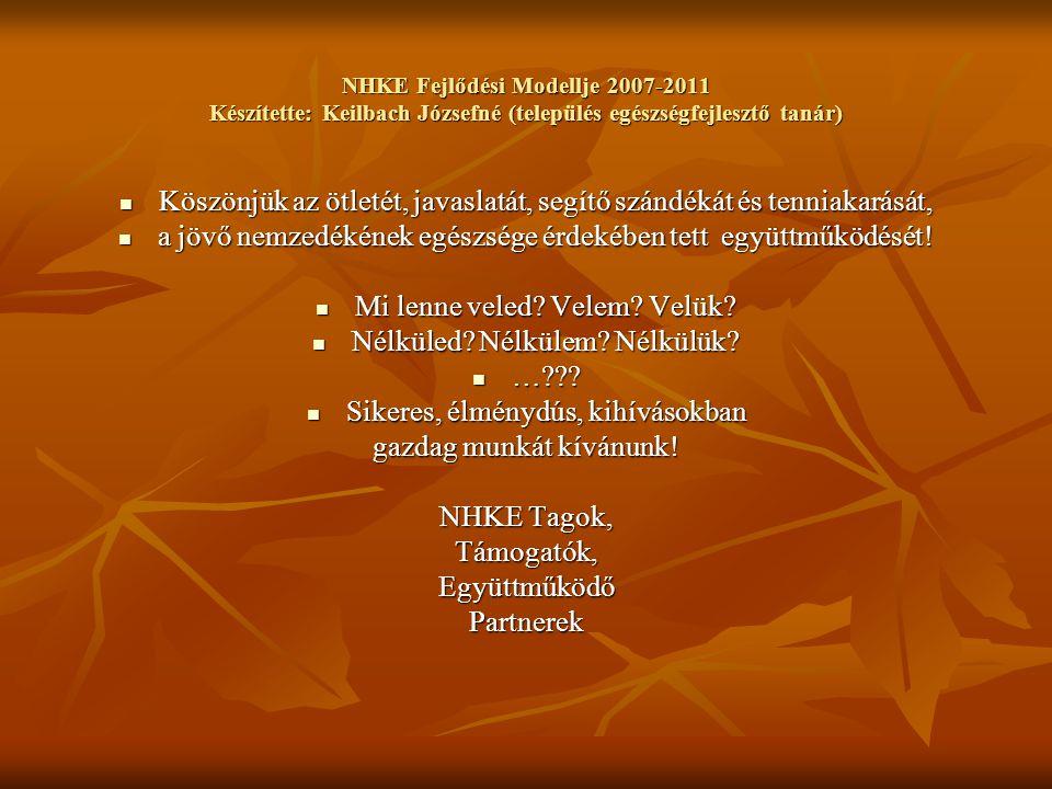 NHKE Fejlődési Modellje 2007-2011 Készítette: Keilbach Józsefné (település egészségfejlesztő tanár) Köszönjük az ötletét, javaslatát, segítő szándékát és tenniakarását, Köszönjük az ötletét, javaslatát, segítő szándékát és tenniakarását, a jövő nemzedékének egészsége érdekében tett együttműködését.