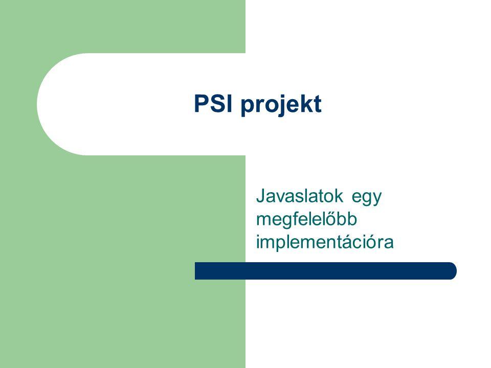 PSI projekt Javaslatok egy megfelelőbb implementációra