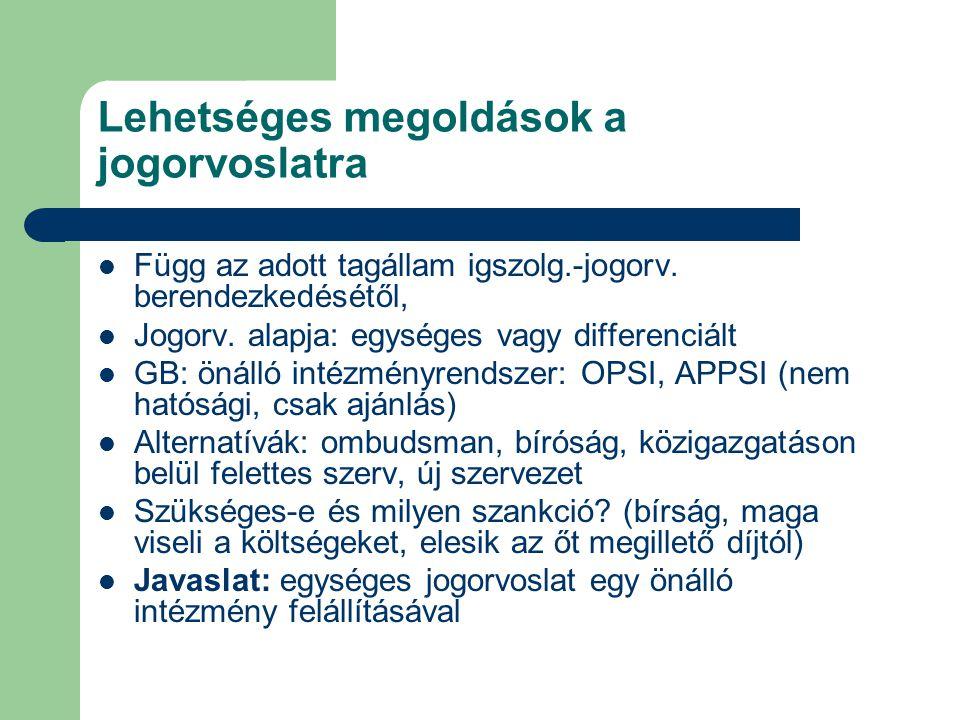 Lehetséges megoldások a jogorvoslatra Függ az adott tagállam igszolg.-jogorv.