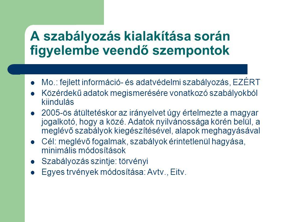 A szabályozás kialakítása során figyelembe veendő szempontok Mo.: fejlett információ- és adatvédelmi szabályozás, EZÉRT Közérdekű adatok megismerésére vonatkozó szabályokból kiindulás 2005-ös átültetéskor az irányelvet úgy értelmezte a magyar jogalkotó, hogy a közé.