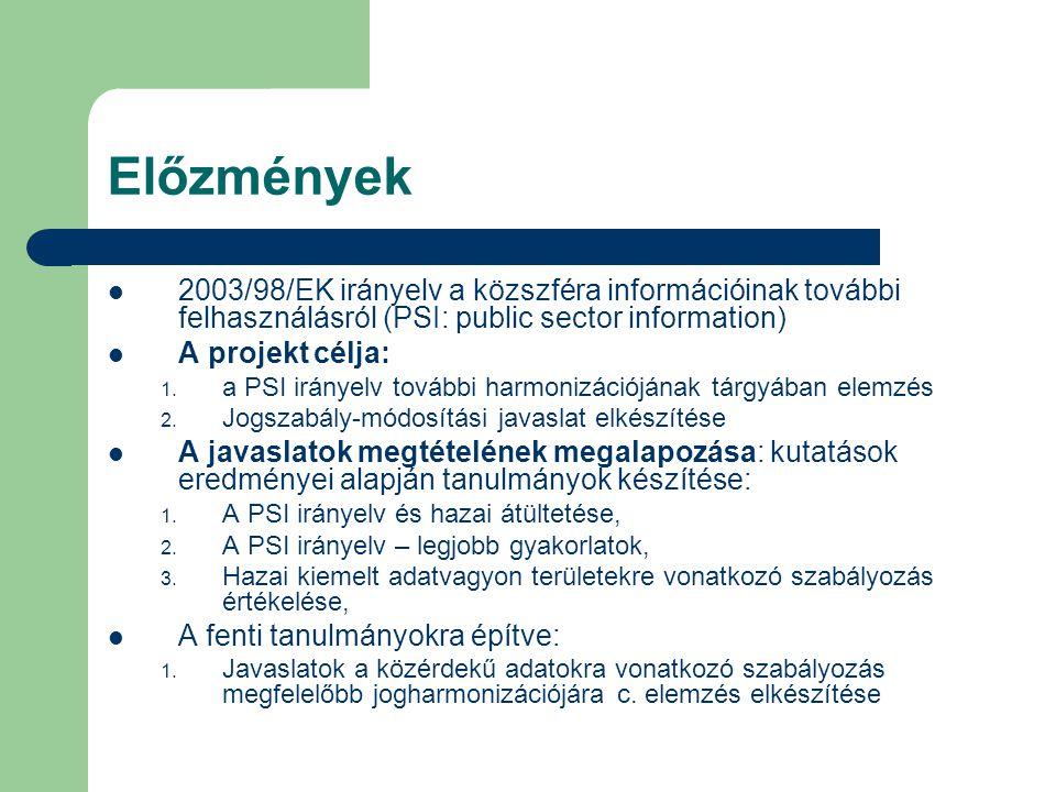 Előzmények 2003/98/EK irányelv a közszféra információinak további felhasználásról (PSI: public sector information) A projekt célja: 1.