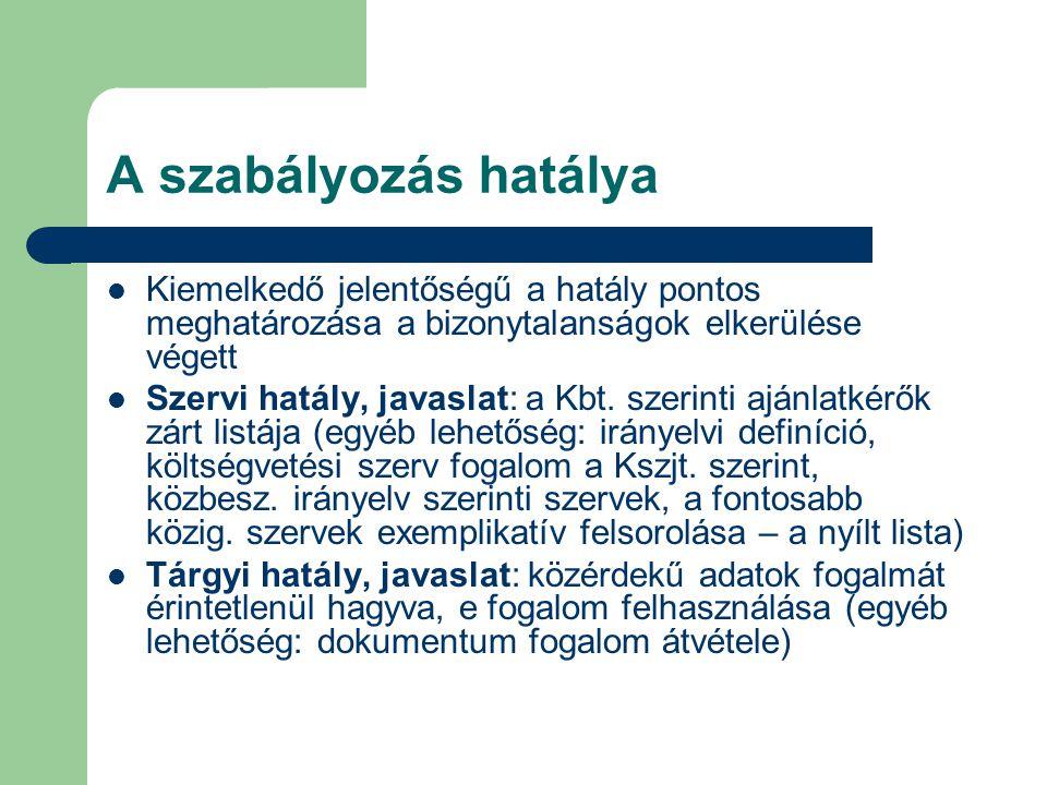 A szabályozás hatálya Kiemelkedő jelentőségű a hatály pontos meghatározása a bizonytalanságok elkerülése végett Szervi hatály, javaslat: a Kbt.