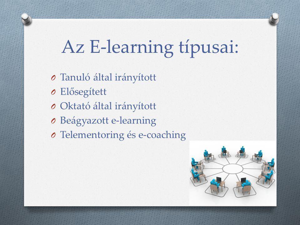 Az E-learning típusai: O Tanuló által irányított O Elősegített O Oktató által irányított O Beágyazott e-learning O Telementoring és e-coaching