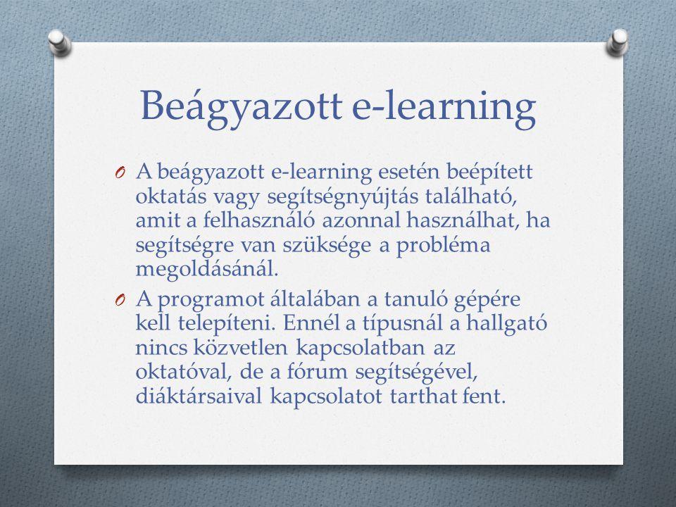 Beágyazott e-learning O A beágyazott e-learning esetén beépített oktatás vagy segítségnyújtás található, amit a felhasználó azonnal használhat, ha segítségre van szüksége a probléma megoldásánál.