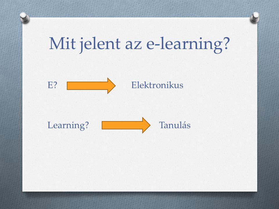 Mit jelent az e-learning? E? Elektronikus Learning? Tanulás