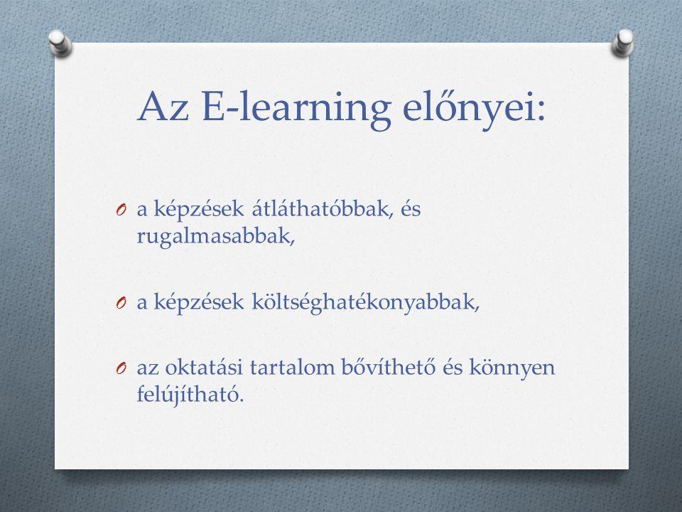 Az E-learning előnyei: O a képzések átláthatóbbak, és rugalmasabbak, O a képzések költséghatékonyabbak, O az oktatási tartalom bővíthető és könnyen fe