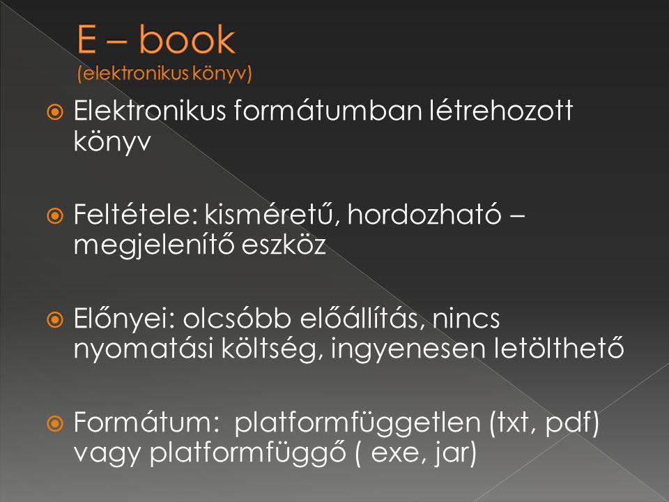  Elektronikus formátumban létrehozott könyv  Feltétele: kisméretű, hordozható – megjelenítő eszköz  Előnyei: olcsóbb előállítás, nincs nyomatási költség, ingyenesen letölthető  Formátum: platformfüggetlen (txt, pdf) vagy platformfüggő ( exe, jar)