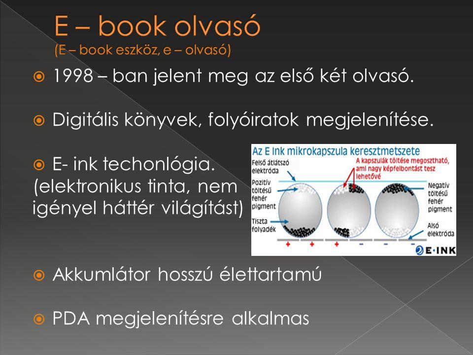  1998 – ban jelent meg az első két olvasó. Digitális könyvek, folyóiratok megjelenítése.