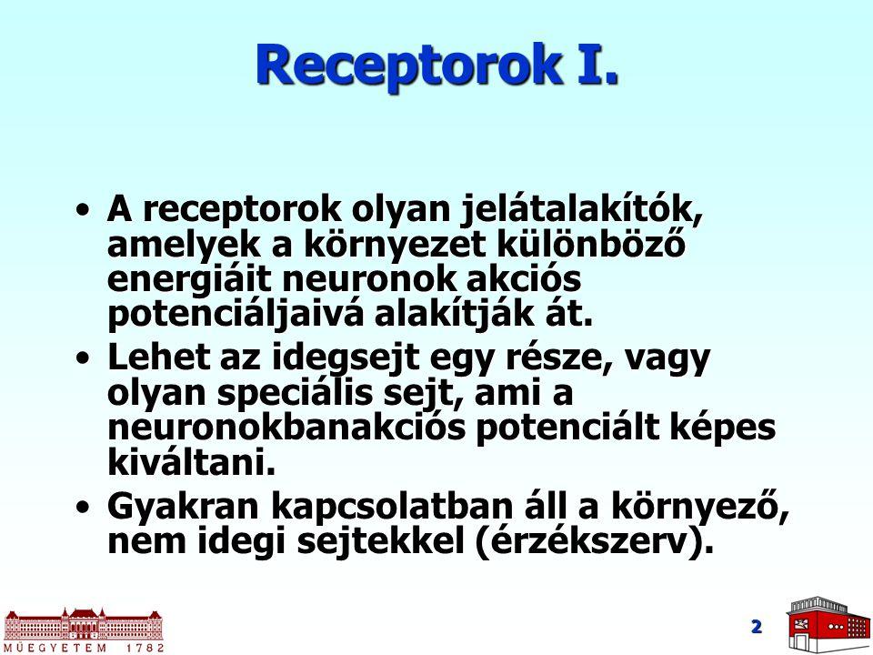 Receptorok I. A receptorok olyan jelátalakítók, amelyek a környezet különböző energiáit neuronok akciós potenciáljaivá alakítják át.A receptorok olyan