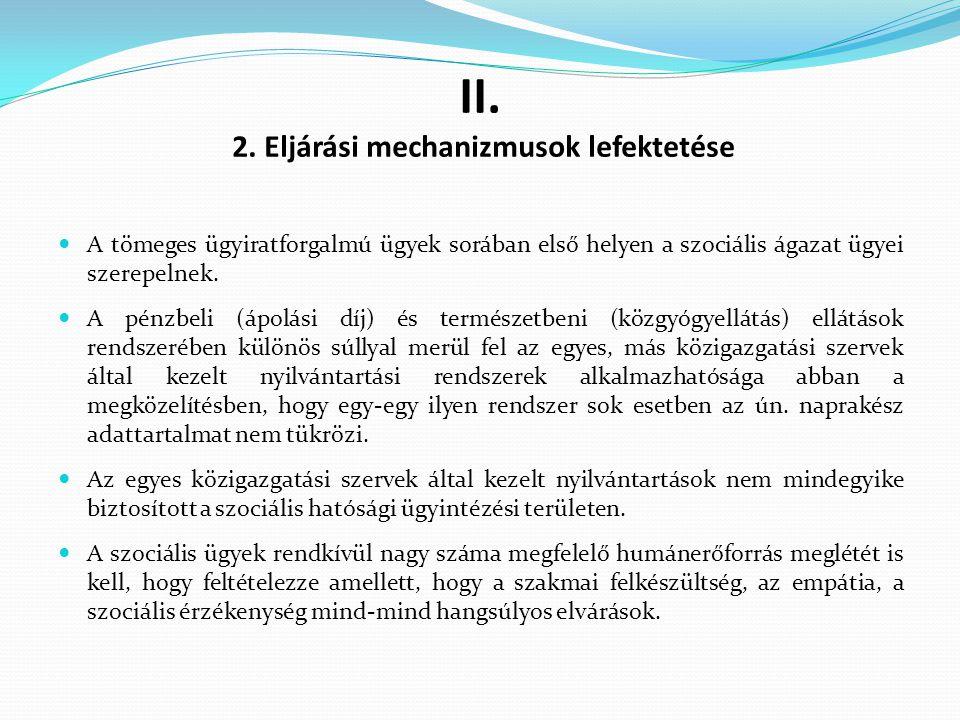 II. 2. Eljárási mechanizmusok lefektetése A tömeges ügyiratforgalmú ügyek sorában első helyen a szociális ágazat ügyei szerepelnek. A pénzbeli (ápolás