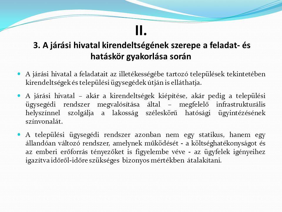 II. 3. A járási hivatal kirendeltségének szerepe a feladat- és hatáskör gyakorlása során A járási hivatal a feladatait az illetékességébe tartozó tele