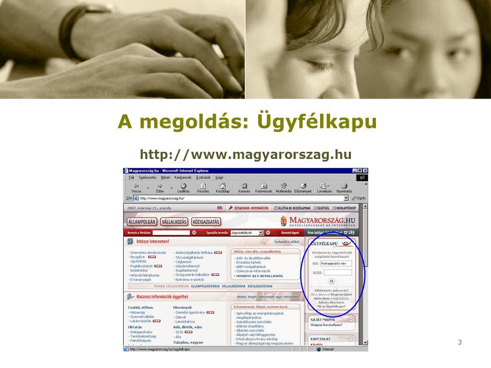 2007. március 28.Verseghy Ferenc Könyvtár3 A megoldás: Ügyfélkapu http://www.magyarorszag.hu