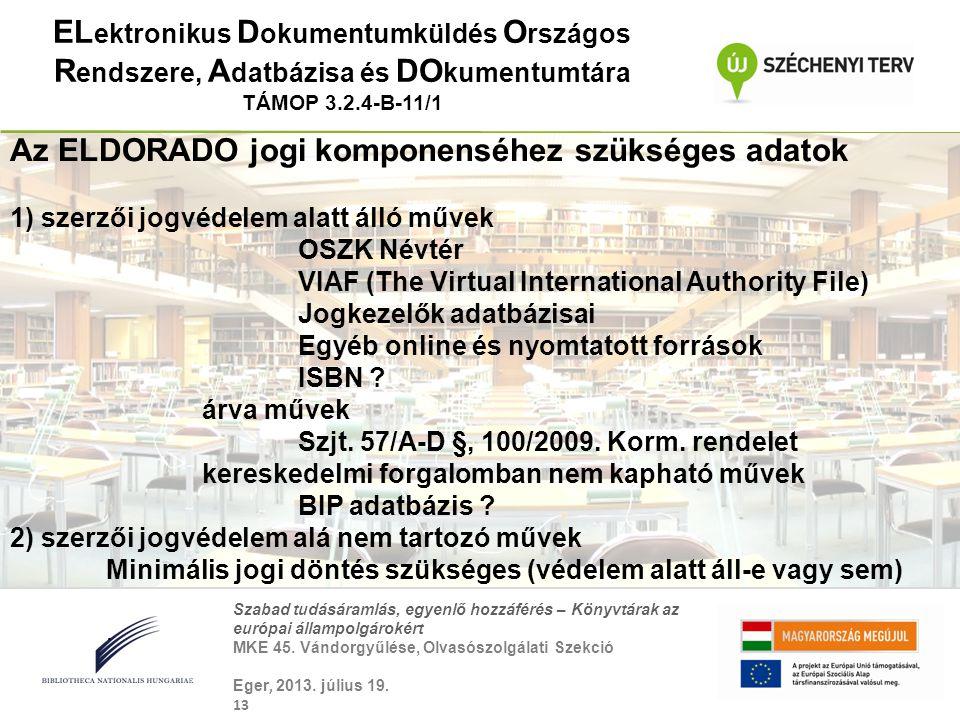 Szabad tudásáramlás, egyenlő hozzáférés – Könyvtárak az európai állampolgárokért MKE 45. Vándorgyűlése, Olvasószolgálati Szekció Eger, 2013. július 19