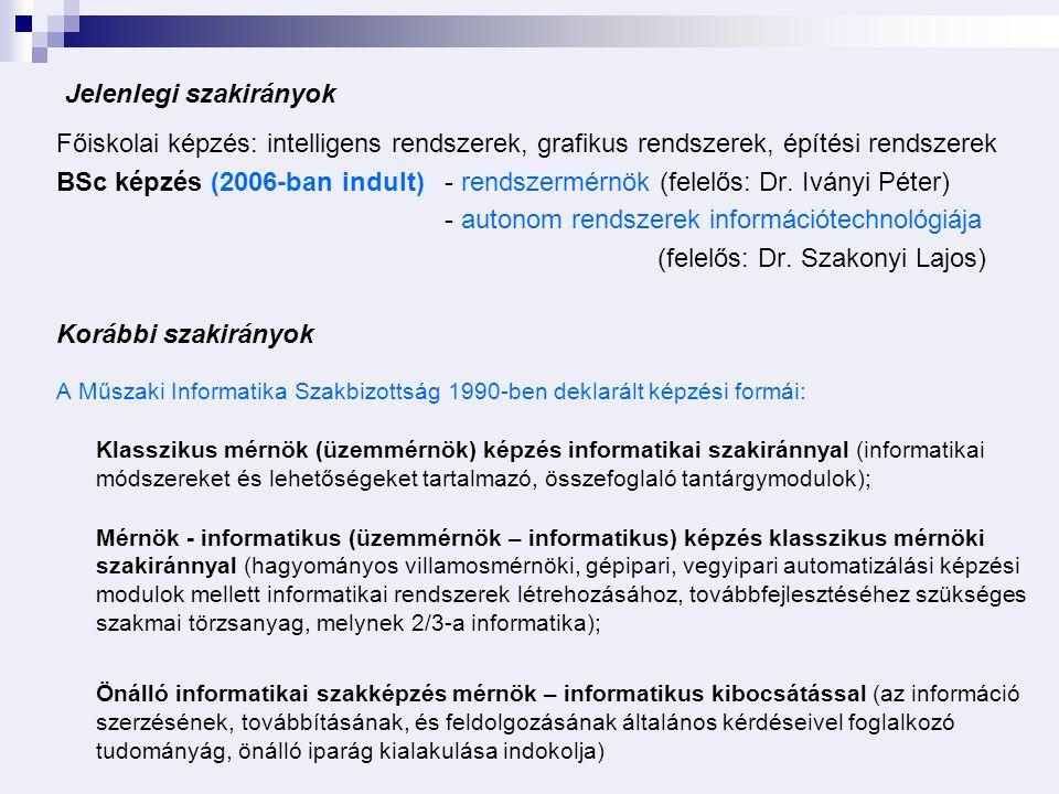 Jelenlegi szakirányok Főiskolai képzés: intelligens rendszerek, grafikus rendszerek, építési rendszerek BSc képzés (2006-ban indult) - rendszermérnök (felelős: Dr.
