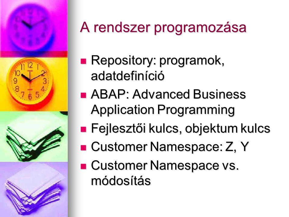 A rendszer programozása Repository: programok, adatdefiníció Repository: programok, adatdefiníció ABAP: Advanced Business Application Programming ABAP: Advanced Business Application Programming Fejlesztői kulcs, objektum kulcs Fejlesztői kulcs, objektum kulcs Customer Namespace: Z, Y Customer Namespace: Z, Y Customer Namespace vs.