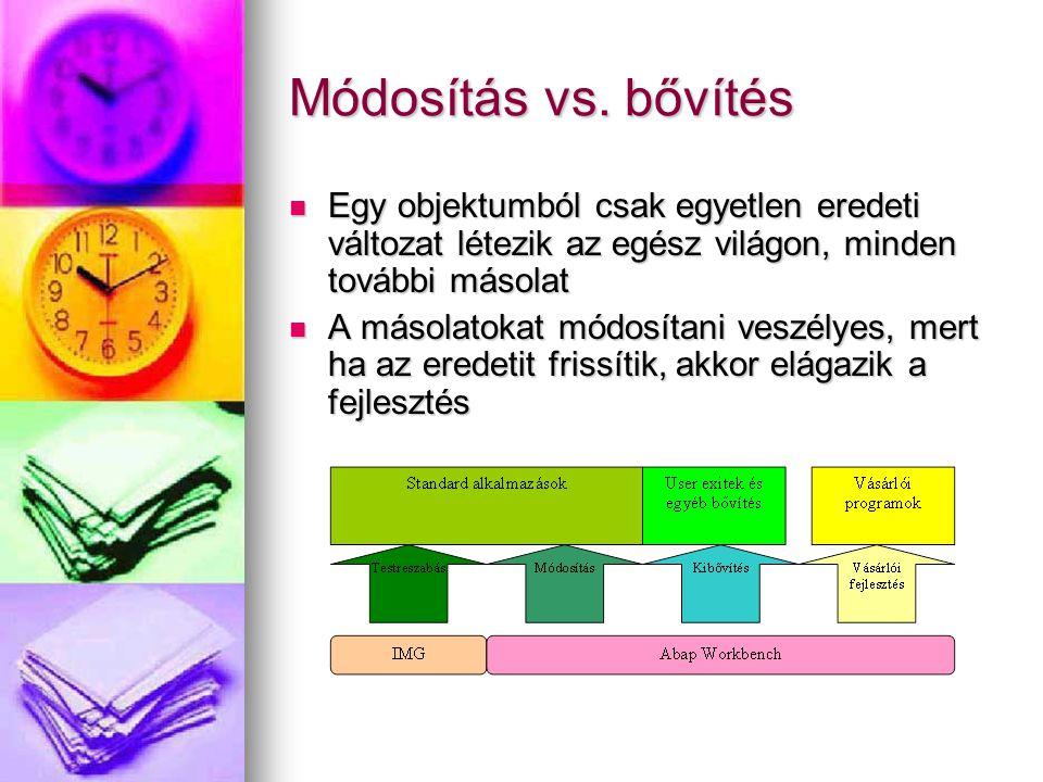 Módosítás vs. bővítés Egy objektumból csak egyetlen eredeti változat létezik az egész világon, minden további másolat Egy objektumból csak egyetlen er