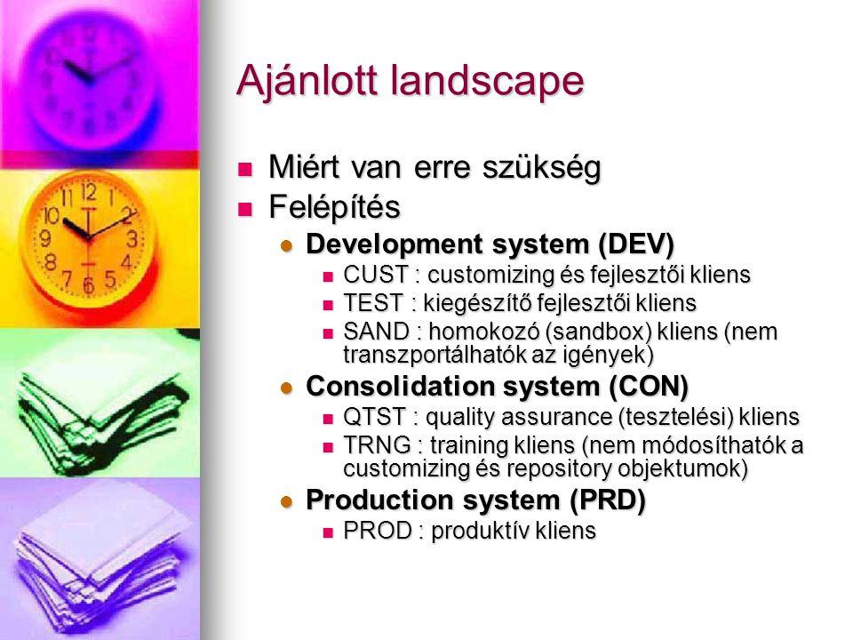 Ajánlott landscape Miért van erre szükség Miért van erre szükség Felépítés Felépítés Development system (DEV) Development system (DEV) CUST : customizing és fejlesztői kliens CUST : customizing és fejlesztői kliens TEST : kiegészítő fejlesztői kliens TEST : kiegészítő fejlesztői kliens SAND : homokozó (sandbox) kliens (nem transzportálhatók az igények) SAND : homokozó (sandbox) kliens (nem transzportálhatók az igények) Consolidation system (CON) Consolidation system (CON) QTST : quality assurance (tesztelési) kliens QTST : quality assurance (tesztelési) kliens TRNG : training kliens (nem módosíthatók a customizing és repository objektumok) TRNG : training kliens (nem módosíthatók a customizing és repository objektumok) Production system (PRD) Production system (PRD) PROD : produktív kliens PROD : produktív kliens