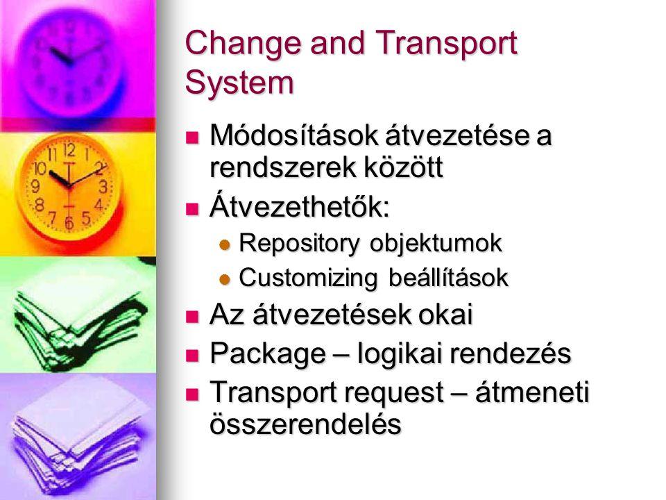 Change and Transport System Módosítások átvezetése a rendszerek között Módosítások átvezetése a rendszerek között Átvezethetők: Átvezethetők: Reposito