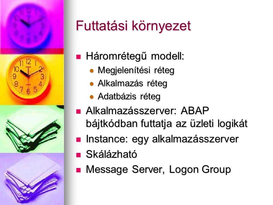Futtatási környezet Háromrétegű modell: Háromrétegű modell: Megjelenítési réteg Megjelenítési réteg Alkalmazás réteg Alkalmazás réteg Adatbázis réteg Adatbázis réteg Alkalmazásszerver: ABAP bájtkódban futtatja az üzleti logikát Alkalmazásszerver: ABAP bájtkódban futtatja az üzleti logikát Instance: egy alkalmazásszerver Instance: egy alkalmazásszerver Skálázható Skálázható Message Server, Logon Group Message Server, Logon Group