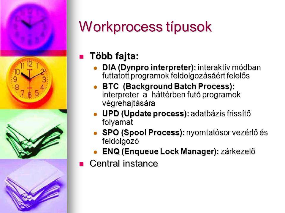 Workprocess típusok Több fajta: Több fajta: DIA (Dynpro interpreter): interaktív módban futtatott programok feldolgozásáért felelős DIA (Dynpro interpreter): interaktív módban futtatott programok feldolgozásáért felelős BTC (Background Batch Process): interpreter a háttérben futó programok végrehajtására BTC (Background Batch Process): interpreter a háttérben futó programok végrehajtására UPD (Update process): adatbázis frissítő folyamat UPD (Update process): adatbázis frissítő folyamat SPO (Spool Process): nyomtatósor vezérlő és feldolgozó SPO (Spool Process): nyomtatósor vezérlő és feldolgozó ENQ (Enqueue Lock Manager): zárkezelő ENQ (Enqueue Lock Manager): zárkezelő Central instance Central instance