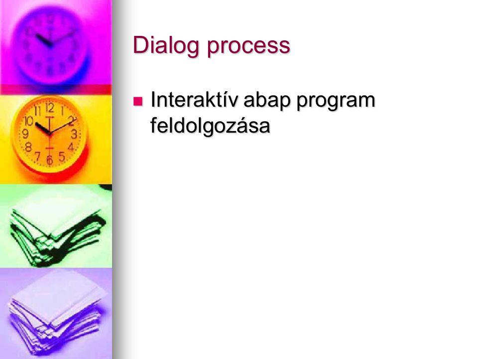 Dialog process Interaktív abap program feldolgozása Interaktív abap program feldolgozása