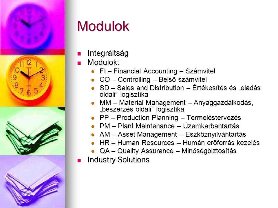 """Modulok Integráltság Integráltság Modulok: Modulok: FI – Financial Accounting – Számvitel FI – Financial Accounting – Számvitel CO – Controlling – Belső számvitel CO – Controlling – Belső számvitel SD – Sales and Distribution – Értékesítés és """"eladás oldali logisztika SD – Sales and Distribution – Értékesítés és """"eladás oldali logisztika MM – Material Management – Anyaggazdálkodás, """"beszerzés oldali logisztika MM – Material Management – Anyaggazdálkodás, """"beszerzés oldali logisztika PP – Production Planning – Termeléstervezés PP – Production Planning – Termeléstervezés PM – Plant Maintenance – Üzemkarbantartás PM – Plant Maintenance – Üzemkarbantartás AM – Asset Management – Eszköznyilvántartás AM – Asset Management – Eszköznyilvántartás HR – Human Resources – Humán erőforrás kezelés HR – Human Resources – Humán erőforrás kezelés QA – Quality Assurance – Minőségbiztosítás QA – Quality Assurance – Minőségbiztosítás Industry Solutions Industry Solutions"""