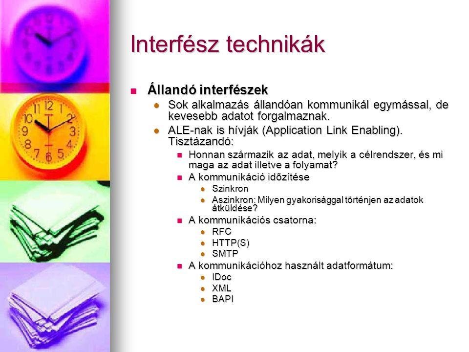 Interfész technikák Állandó interfészek Állandó interfészek Sok alkalmazás állandóan kommunikál egymással, de kevesebb adatot forgalmaznak.