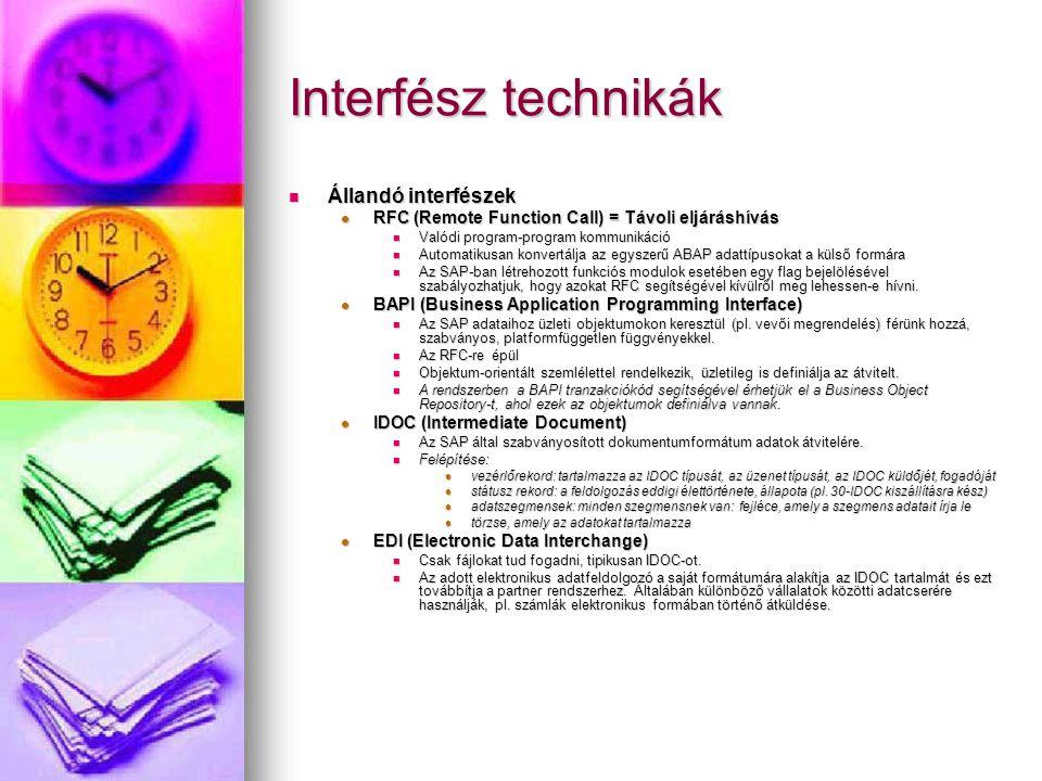 Interfész technikák Állandó interfészek Állandó interfészek RFC (Remote Function Call) = Távoli eljáráshívás RFC (Remote Function Call) = Távoli eljár
