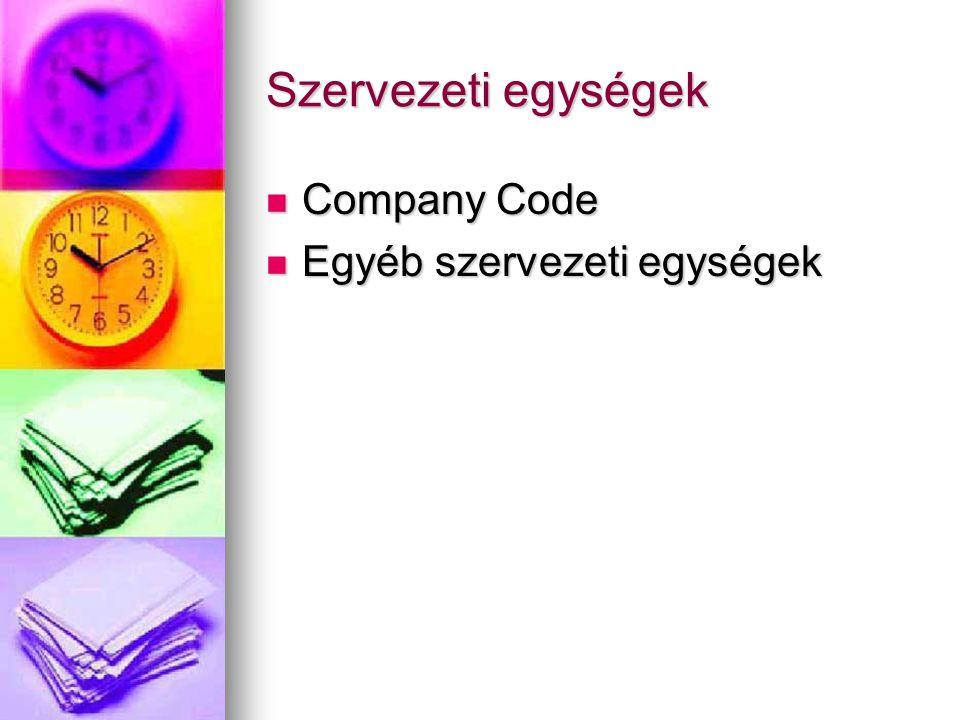 Szervezeti egységek Company Code Company Code Egyéb szervezeti egységek Egyéb szervezeti egységek