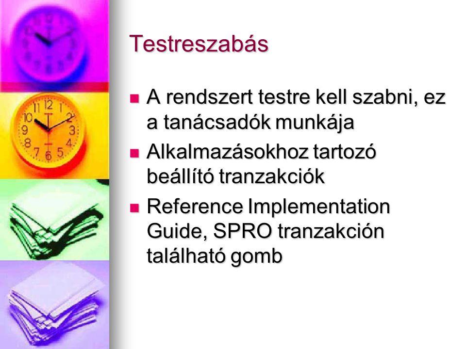 Testreszabás A rendszert testre kell szabni, ez a tanácsadók munkája A rendszert testre kell szabni, ez a tanácsadók munkája Alkalmazásokhoz tartozó beállító tranzakciók Alkalmazásokhoz tartozó beállító tranzakciók Reference Implementation Guide, SPRO tranzakción található gomb Reference Implementation Guide, SPRO tranzakción található gomb