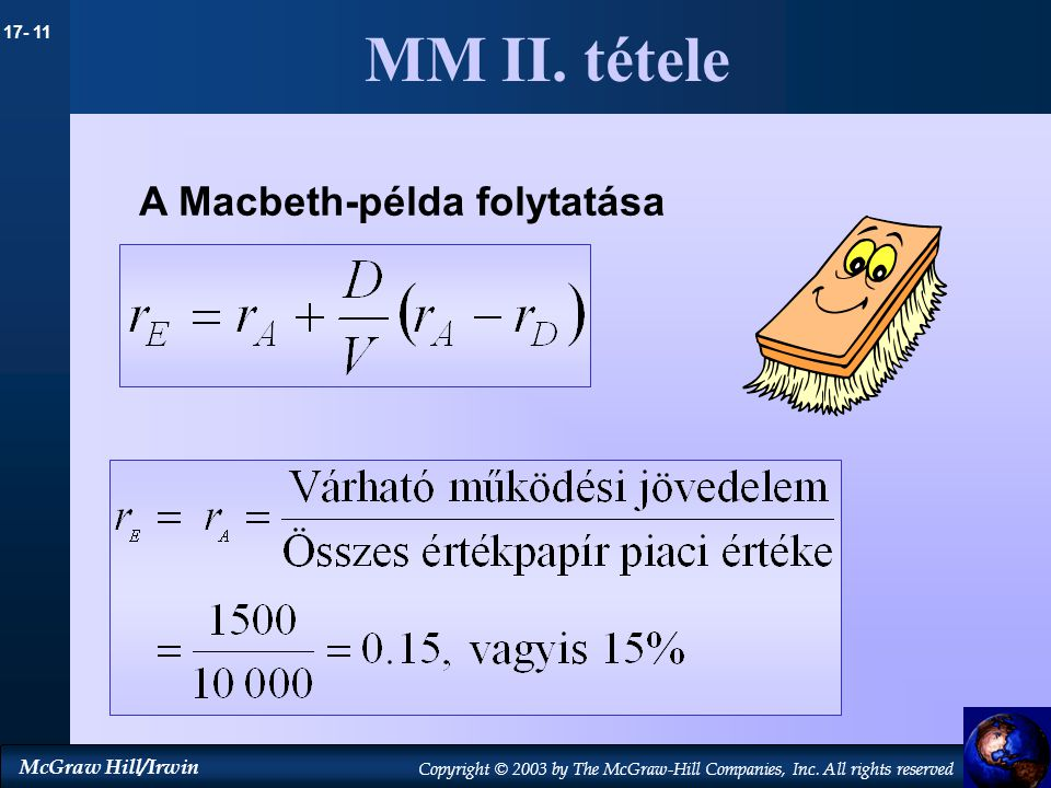17- 11 McGraw Hill/Irwin Copyright © 2003 by The McGraw-Hill Companies, Inc. All rights reserved MM II. tétele A Macbeth-példa folytatása