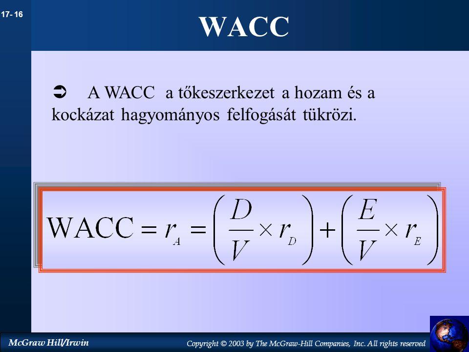 17- 16 McGraw Hill/Irwin Copyright © 2003 by The McGraw-Hill Companies, Inc. All rights reserved WACC  A WACC a tőkeszerkezet a hozam és a kockázat h